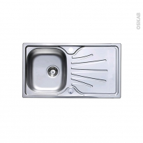Evier de cuisine - APIRO - Inox lisse - 1 grand bac égouttoir - à encastrer - ASTRACAST