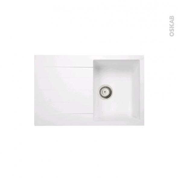 Evier de cuisine - HELIO - Granit blanc - 1 bac égouttoir - à encastrer - ASTRACAST