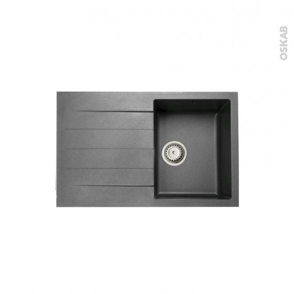 Evier de cuisine - HELIO - Granit gris - 1 bac égouttoir - à encastrer - ASTRACAST