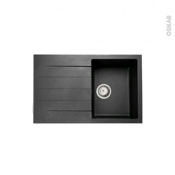 Evier HELIO - Granit noir - 1 bac égouttoir - à encastrer - ASTRACAST