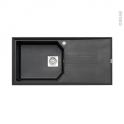 Evier de cuisine - HELIX - Granit noir - 1 grand bac égouttoir - à encastrer - ASTRACAST