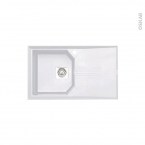 Evier de cuisine HELIX - Granit blanc - 1 bac égouttoir - à encastrer - ASTRACAST