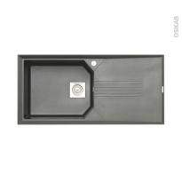 Evier de cuisine HELIX - Granit gris - 1 grand bac égouttoir - à encastrer - ASTRACAST