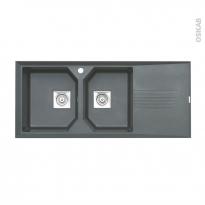 Evier HELIX - Granit gris - 2 bacs égouttoir - à encastrer - ASTRACAST