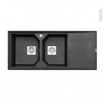Evier de cuisine - HELIX - Granit noir - 2 bacs égouttoir - à encastrer - ASTRACAST