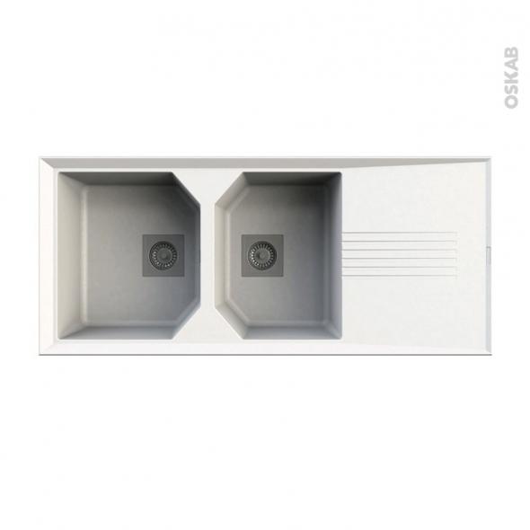 Evier de cuisine HELIX - Granit blanc - 2 bacs égouttoir - à encastrer - ASTRACAST