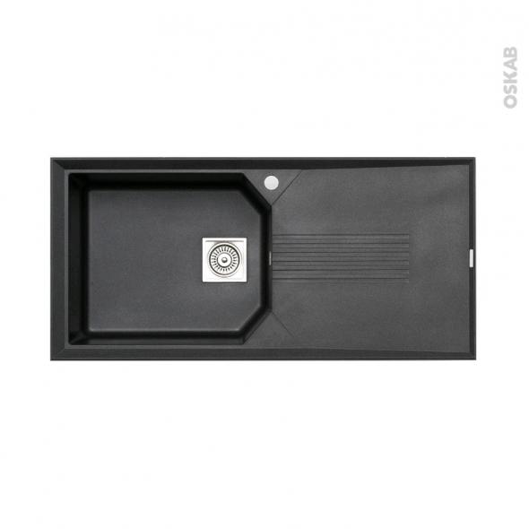 Evier HELIX - Granit noir - 1 grand bac égouttoir - à encastrer - ASTRACAST
