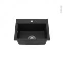 Evier de cuisine - MONZA - Granit noir - 1 cuve carré 51 x 43 cm - Sous plan - ASTRACAST
