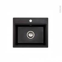 Evier MONZA - Granit noir - 1 cuve carré 51x43 - à encastrer - ASTRACAST