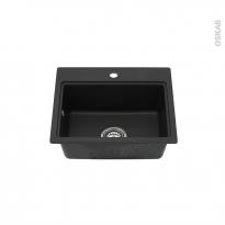 Evier de cuisine - MONZA - Granit noir - 1 cuve carré 51 x 43 cm - à encastrer - ASTRACAST
