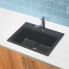#Evier MONZA - Granit noir - 1 cuve carré 51x43 - à encastrer - ASTRACAST