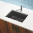 #Evier de cuisine - MONZA - Granit noir - 1 cuve carré 51 x 43 cm - Sous plan - ASTRACAST