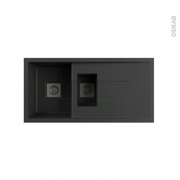 Evier de cuisine - SIGMA - Granit noir - 1 bac 1/2 égouttoir - à encastrer - ASTRACAST