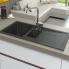 #Evier de cuisine - SIGMA - Granit noir - 1 bac 1/2 égouttoir - à encastrer - ASTRACAST