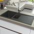 #Evier SIGMA - Granit noir - 1 bac 1/2 égouttoir - à encastrer - ASTRACAST