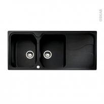 Evier de cuisine - SORRENTO - Granit noir - 2 bacs égouttoir - à encastrer - ASTRACAST