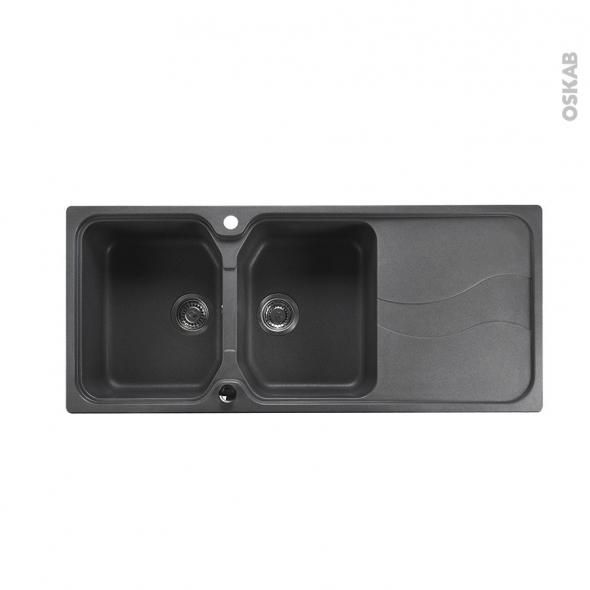 Evier SORRENTO - Granit gris - 2 bacs égouttoir - à encastrer - ASTRACAST
