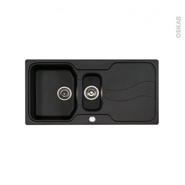 Evier de cuisine - SORRENTO - Granit noir - 1 bac 1/2 égouttoir - à encastrer - ASTRACAST