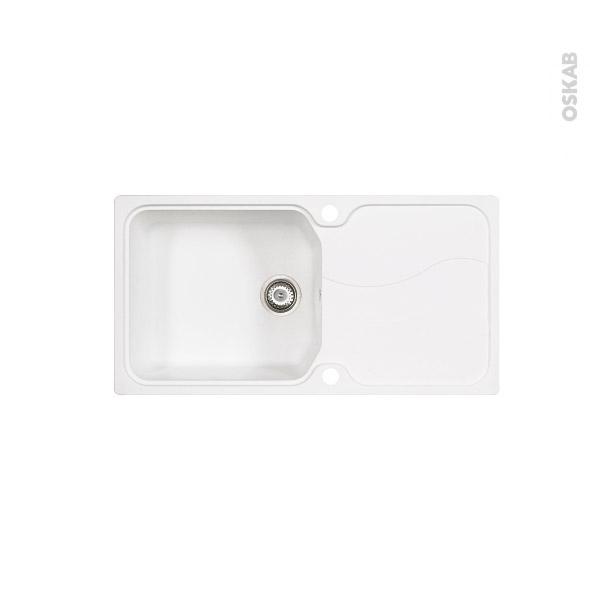 Evier SORRENTO - Granit blanc - 1 grand bac égouttoir - à encastrer - ASTRACAST