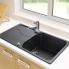 #Evier de cuisine - SORRENTO - Granit noir - 1 grand bac égouttoir - à encastrer - ASTRACAST