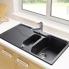 #Evier SORRENTO - Granit noir - 1 bac 1/2 égouttoir - à encastrer - ASTRACAST