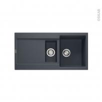 Evier de cuisine - MARIS - Granit noir - 1 bac 1/2 égouttoir - à encastrer - FRANKE