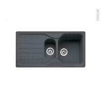 Evier de cuisine - CALYPSO - Granit graphite - 1 bac 1/2 égouttoir - à encastrer