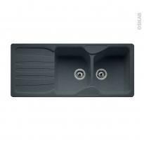 Evier de cuisine - CALYPSO - Granit graphite - 2 bacs égouttoir - à encastrer