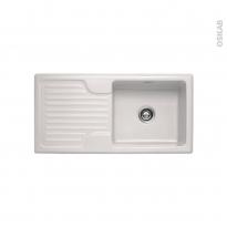 Evier de cuisine - GALASSIA - Céramique blanc - 1 grand bac égouttoir - à encastrer - FRANKE