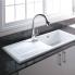 #Evier de cuisine - GALASSIA - Céramique blanc - 1 grand bac égouttoir - à encastrer - FRANKE