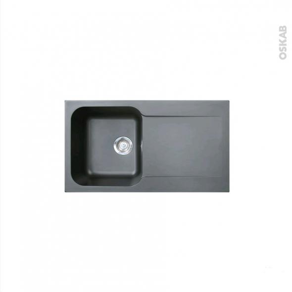 Evier de cuisine - KITE - Résine noir - 1 bac égouttoir - à encastrer