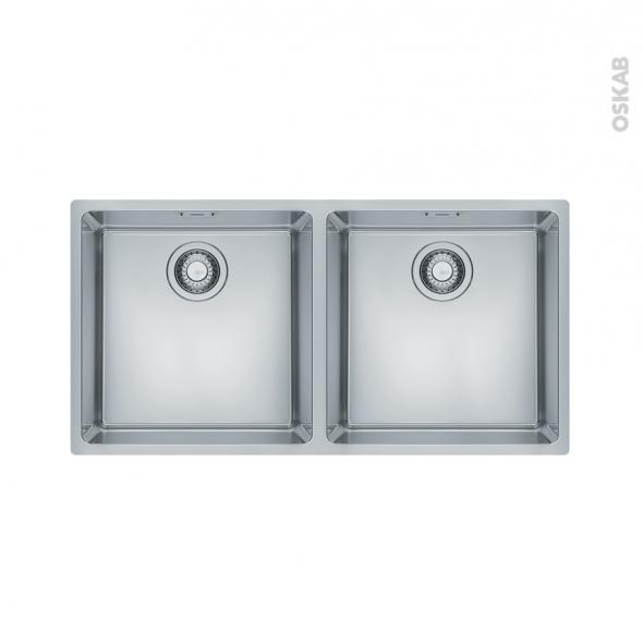 Evier de cuisine - MARIS - Inox lisse - 2 cuves carrées 86,5 x 44 cm - sous plan - FRANKE