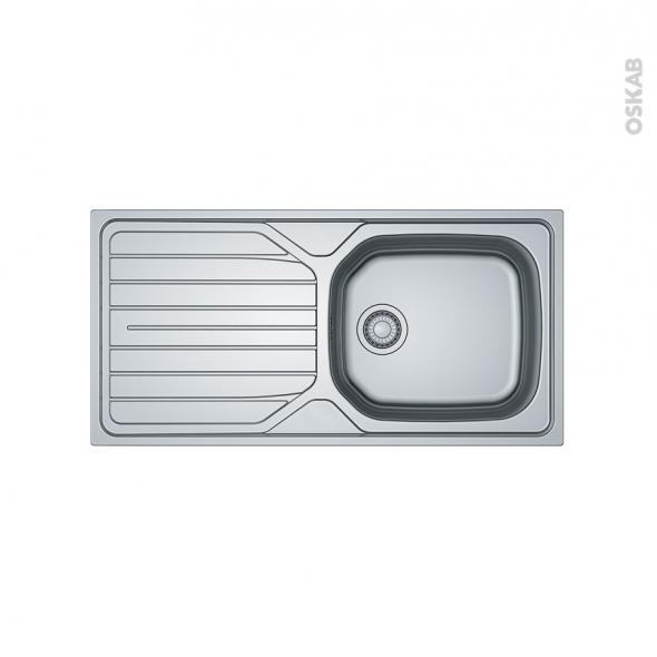 Evier de cuisine - RENO - Inox antirayures - 1 grand bac égouttoir - à encastrer - FRANKE