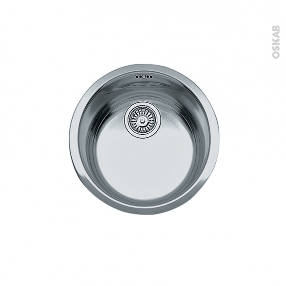 Evier de cuisine - ROTONDO - Inox anti-rayures - 1 cuve ronde 44 cm - sous plan - FRANKE