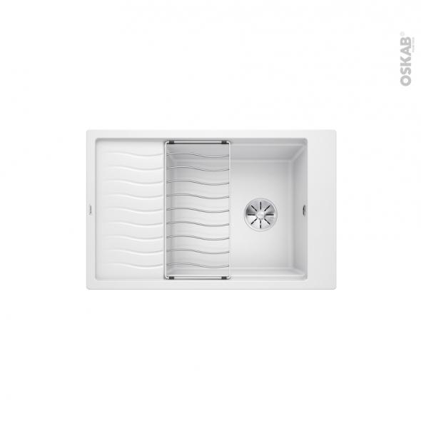 Evier de cuisine - ELON XL6S  - Granit blanc - 1 grand bac 1/2 égouttoir - à encastrer - BLANCO