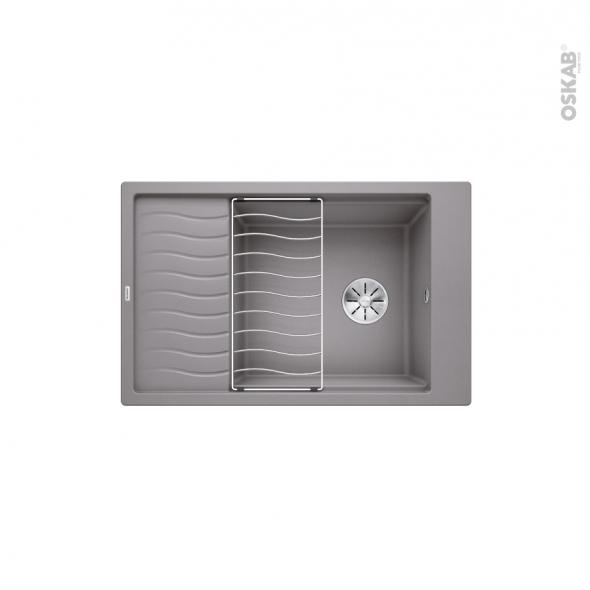Evier de cuisine - ELON XL6S  - Granit gris alumetallic - 1 grand bac 1/2 égouttoir - à encastrer - BLANCO