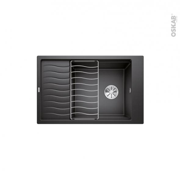 Evier de cuisine - ELON XL6S  - Granit noir anthracite - 1 grand bac 1/2 égouttoir - à encastrer - BLANCO
