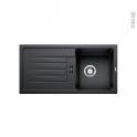 Evier de cuisine - FAVUM 45S - Granit noir anthracite - 1 bac égouttoir - à encastrer - BLANCO
