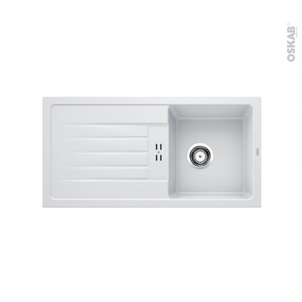 Evier de cuisine - FAVUM 45S - Granit blanc - 1 bac égouttoir - à encastrer - BLANCO