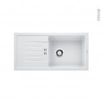 Evier de cuisine - FAVUM XL 6S - Granit blanc - 1 grand bac égouttoir - à encastrer - BLANCO