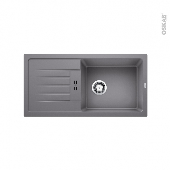 Evier de cuisine - FAVUM XL 6S - Granit gris alumetallic - 1 grand bac égouttoir - à encastrer - BLANCO