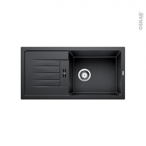Evier de cuisine - FAVUM XL 6S - Granit noir anthracite - 1 grand bac égouttoir - à encastrer - BLANCO
