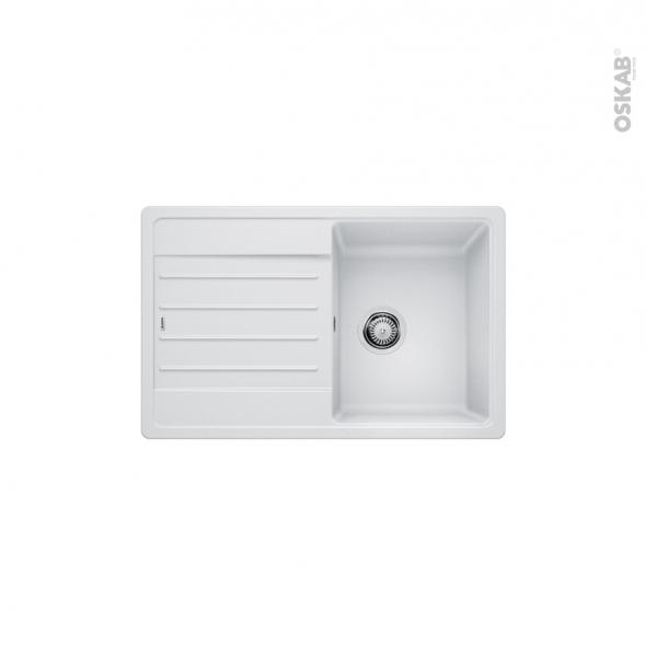 Evier de cuisine - LEGRA 45S - Granit blanc - 1 bac égouttoir - à encastrer - BLANCO