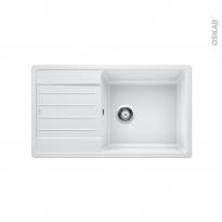 Evier de cuisine - LEGRA XL 6S - Granit blanc - 1 grand bac égouttoir - à encastrer - BLANCO