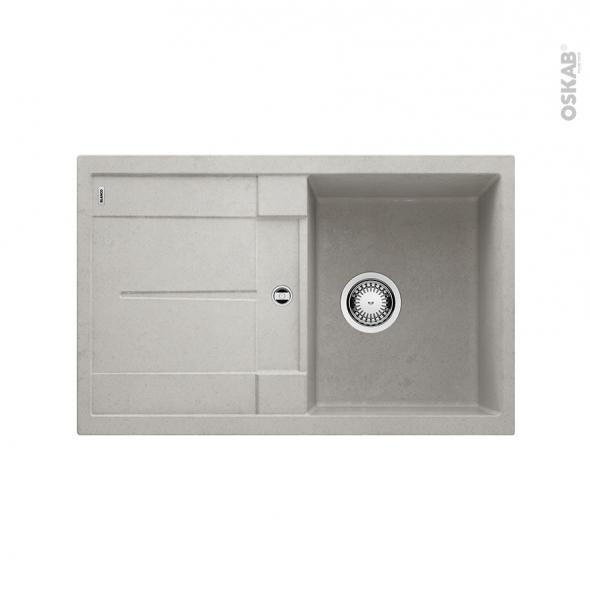 Evier de cuisine - METRA 45S - Granit béton - 1 bac égouttoir - à encastrer - BLANCO