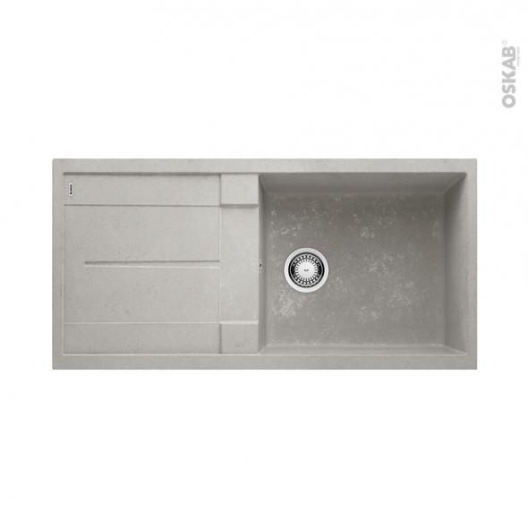 Evier de cuisine - METRA XL6S - Granit béton - 1 grand bac égouttoir - à encastrer - BLANCO