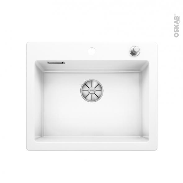 Evier de cuisine - PALONA 6 - Céramique blanc - 1 cuve carrée 61,50 x 51 cm - à encastrer - BLANCO