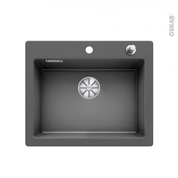 Evier de cuisine - PALONA 6 - Céramique gris anthracite - 1 cuve carrée  61,50 x 51 cm - à encastrer - BLANCO