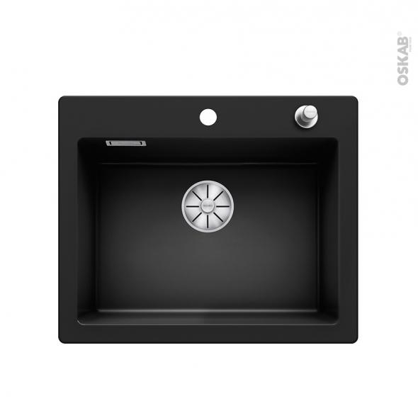 Evier de cuisine - PALONA 6 - Céramique noir - 1 cuve carrée  61,50 x 51 cm - à encastrer - BLANCO