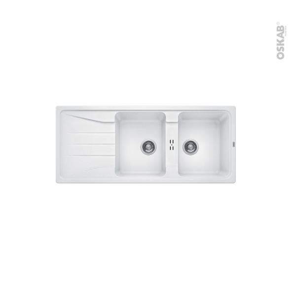 Evier de cuisine - SONA 8S - Granit blanc - 2 bacs égouttoir - à encastrer - BLANCO
